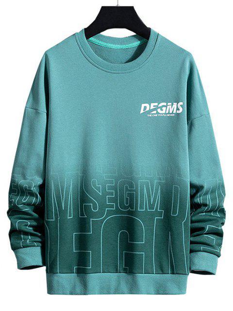 affordable Letter Ombre Drop Shoulder Sweatshirt - GREENISH BLUE 3XL Mobile