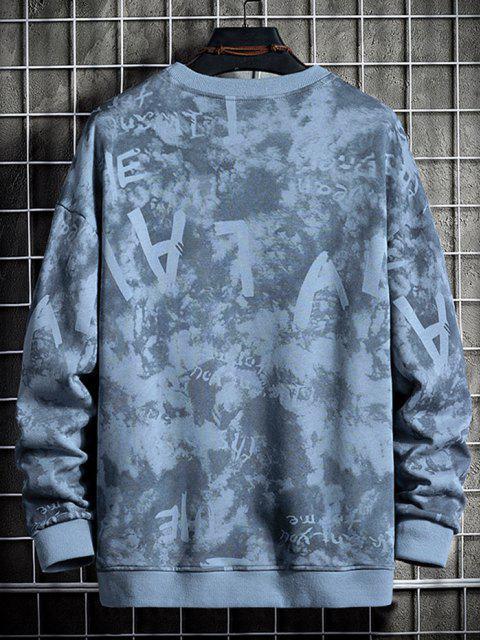 Sweat-shirt Teinté Lettre Imprimée - Bleu-gris 4XL Mobile