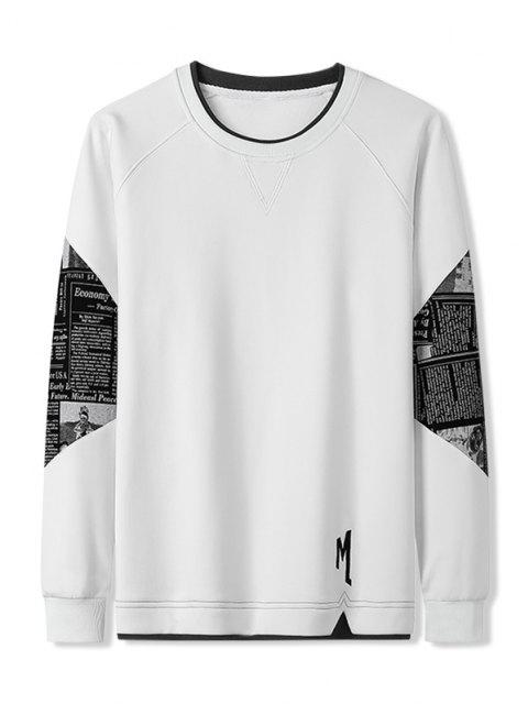 Buchstabe Grafik Patchwork Panel Raglanärmel Sweatshirt - Weiß XL Mobile