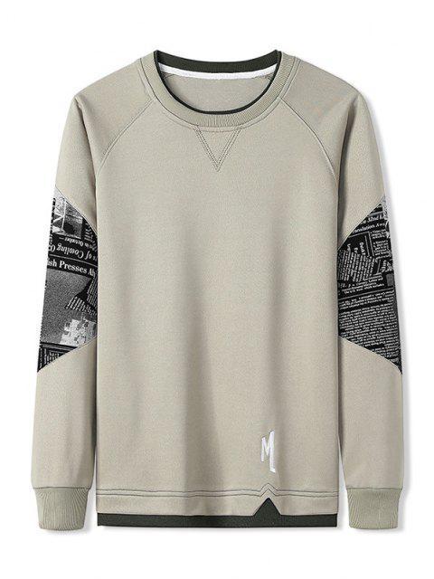 fashion Letter Graphic Patchwork Panel Raglan Sleeve Sweatshirt - LIGHT KHAKI XL Mobile