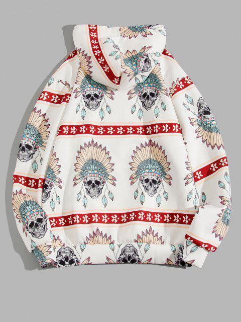 Skull Indian Tribal Pattern Kangaroo Pocket Hoodie - أبيض 3XL Mobile