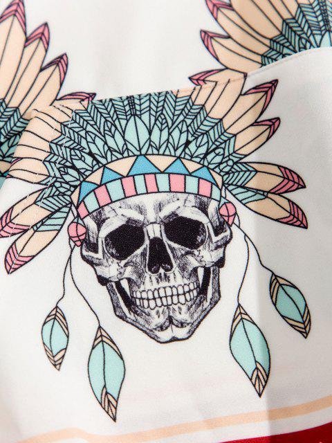 shop Skull Indian Tribal Pattern Kangaroo Pocket Hoodie - WHITE 3XL Mobile