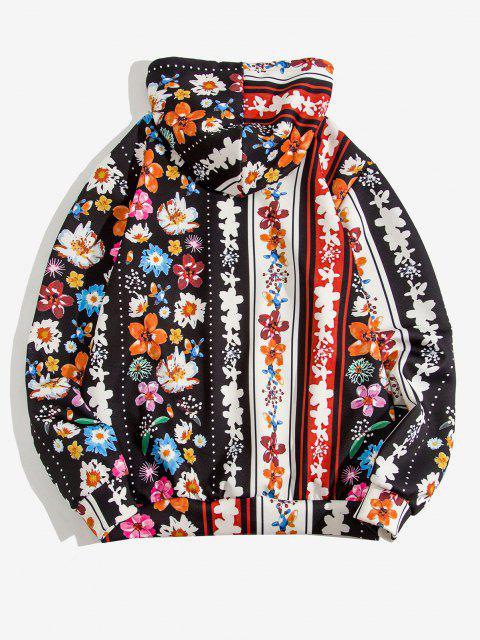 Allover Känguru Taschen Hoodie mit Blumenmuster - Schwarz 2XL Mobile