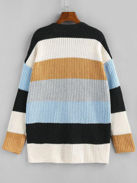 online Colorblock Open Front Cardigan - LIGHT COFFEE S Mobile