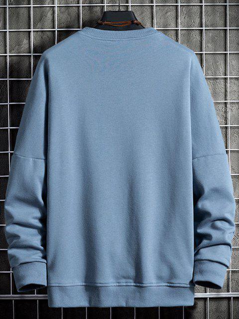 trendy Drop Shoulder Ombre Letter Print Sweatshirt - BLUE GRAY 3XL Mobile