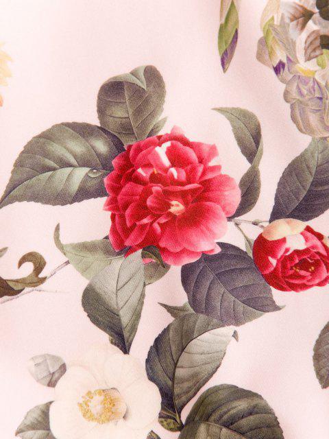 Blumenmuster Vorder Tasche Lässiges Hoodie - Hell-Pink M Mobile