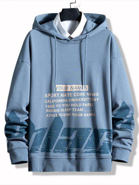 Letter Print Casual Pullover Hoodie - بلو كوي L Mobile