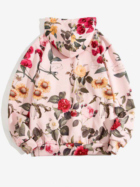 Blumenmuster Vorder Tasche Lässiges Hoodie - Hell-Pink XL Mobile
