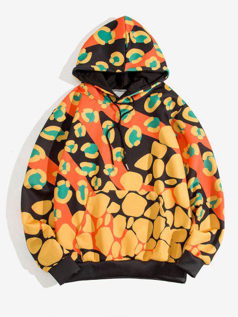 affordable Irregular Pattern Print Kangaroo Pocket Hoodie - GOLDENROD 3XL Mobile