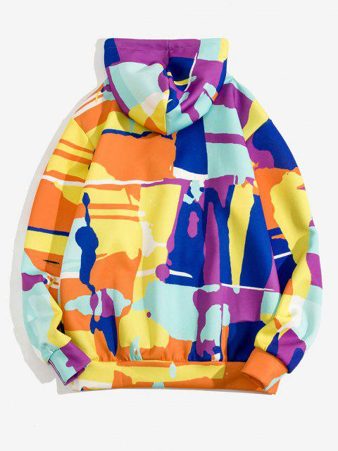 latest Colorful Geometric Print Pullover Hoodie - GOLDENROD 2XL Mobile