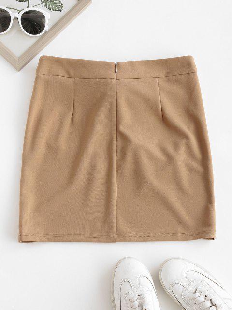 outfits ZAFUL Self Tie Bowknot Mini Skirt - TAN L Mobile