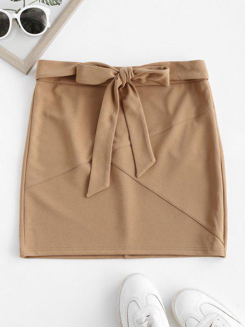 ZAFUL Self Tie Bowknot Mini Skirt - أسمر S Mobile