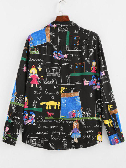unique ZAFUL Cartoon Pastel Print Long Sleeve Shirt - BLACK L Mobile