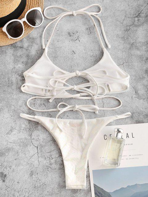 ZAFUL Maillot de Bain Bikini Peau de Serpent Métallique Croisé à Corde - Blanc M Mobile