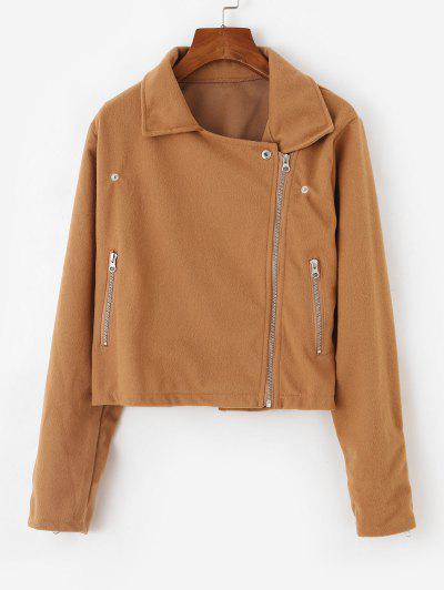 Inclined Zipper Plain Jacket - Light Coffee M