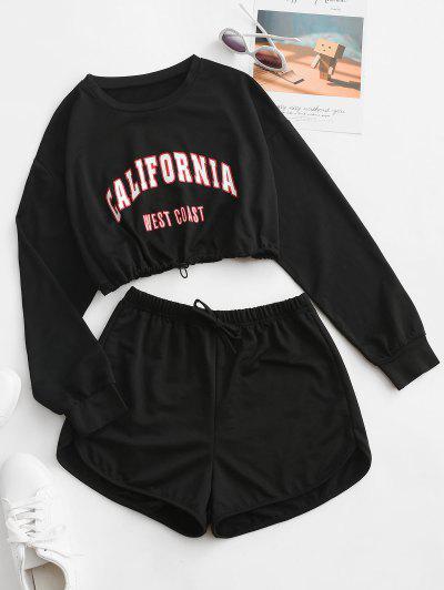Letter Drop Shoulder Toggle Drawstring Shorts Set - Black L