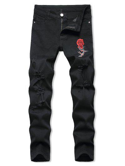 Birds Rose Flower Embroidered Ripped Tapered Jeans - Black 32
