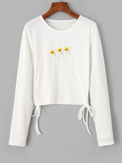 T-shirt Côtelé Sanglé Fleuri BrodéavecLacetsàCôté - Blanc L