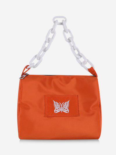 Butterfly Embroidery Square Chain Handbag - Dark Orange