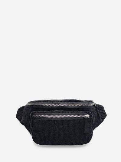 Brief Zipper Solid Waist Bag - Black
