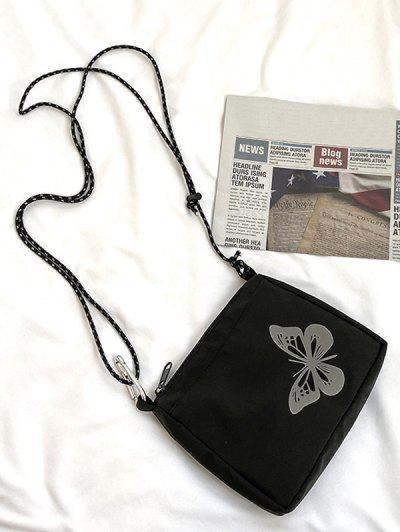 Reflective Butterfly Pattern Canvas Bag - Black