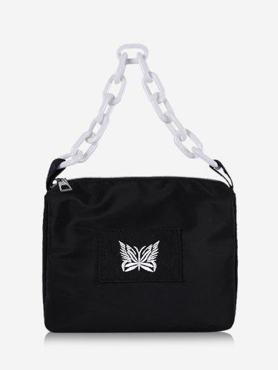 Schmetterling Stickerei Quadrat Kette Handtasche - Schwarz