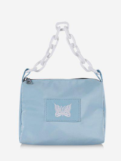 Butterfly Embroidery Square Chain Handbag - Light Blue