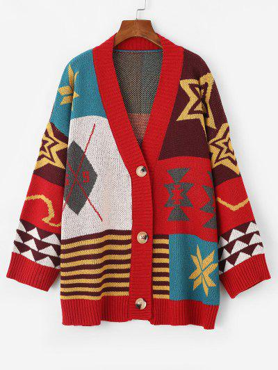 Button Up Geometric Graphic Oversized Cardigan - Red