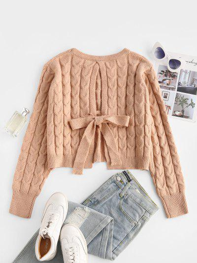 Cable Knit Tie Cut Out Back Sweater - Light Coffee