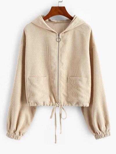 ZAFUL Dual Pocket Hooded Zip Up Corduroy Jacket - Apricot M