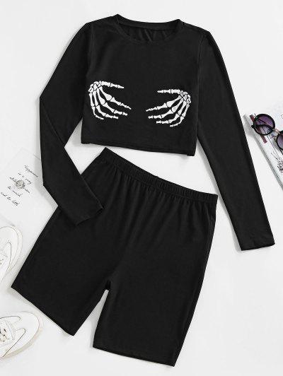 ZAFUL Halloween Skeleton Print Crop Top And Cycling Shorts Set - Black Xl