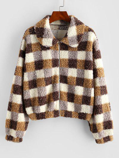 ZAFUL Plaid Zip Front Teddy Coat - Multi-a M