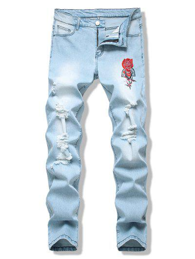 Birds Flower Embroidered Light Wash Destroyed Jeans - Light Blue 32