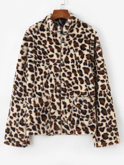 Dual Pocket Zip Up Leopard Faux Fur Coat - Coffee Xl