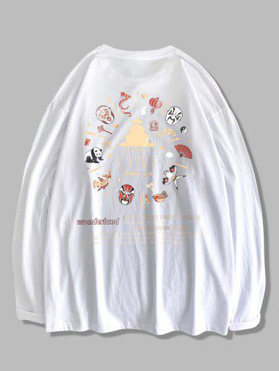 Chinoiserie Pattern Long Sleeve T-shirt - White L