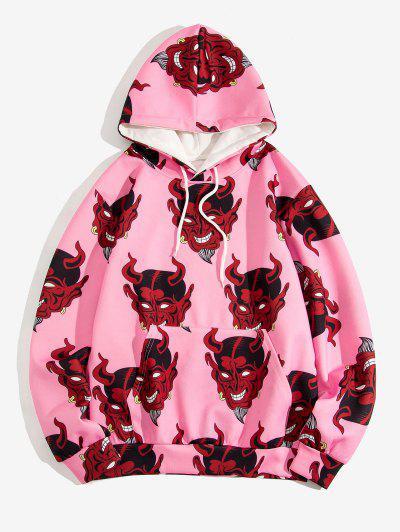 Devil Pattern Front Pocket Hoodie - Pig Pink L