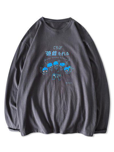 T-shirt Graphique Caractère De Dessin Animé Imprimé à Manches Longues - Gris Foncé S