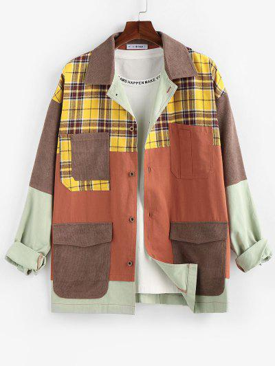 ZAFUL Plaid Pocket Patchwork Colorblock Panel Shirt Jacket - Multi L