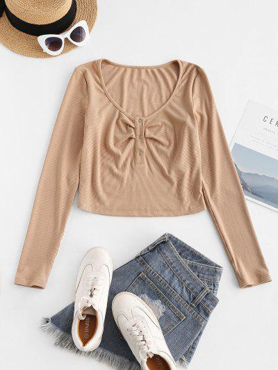 ZAFUL Half Button Ribbed Crop Tee - Apricot S