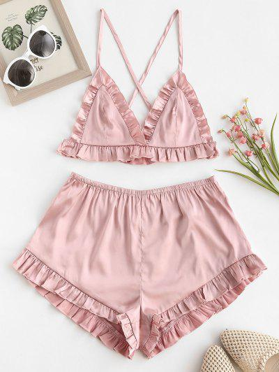 ZAFUL Plunge Ruched Pajamas Shorts Set - Pig Pink Xl