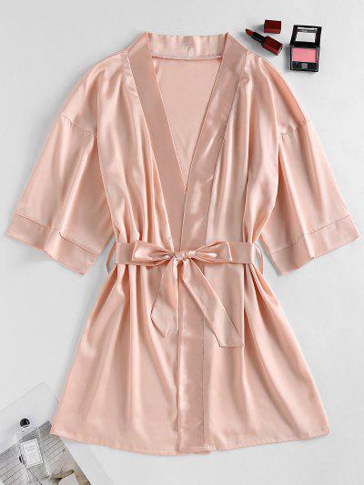 ZAFUL Satin Drop Shoulder Belted Pajama Robe - Light Orange S