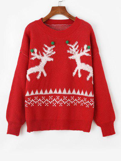Pompoms Textured Elk Christmas Sweater - Red