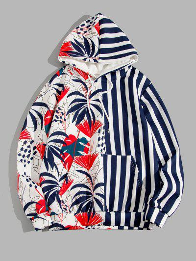 Tropical Leaf Contrast Striped Hoodie - Deep Blue Xl