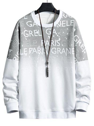 Drop Shoulder Ombre Letter Print Sweatshirt - White 4xl