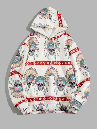 Skull Indian Tribal Pattern Kangaroo Pocket Hoodie - White 3xl