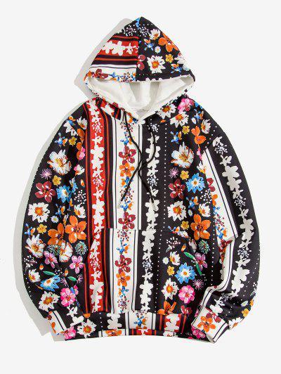 Floral Allover Print Kangaroo Pocket Hoodie - Black 2xl