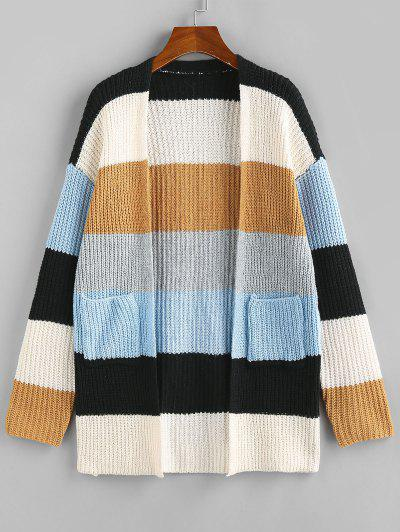Colorblock Open Front Cardigan - Light Coffee S