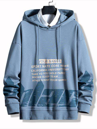 Letter Print Casual Pullover Hoodie - Blue Koi M