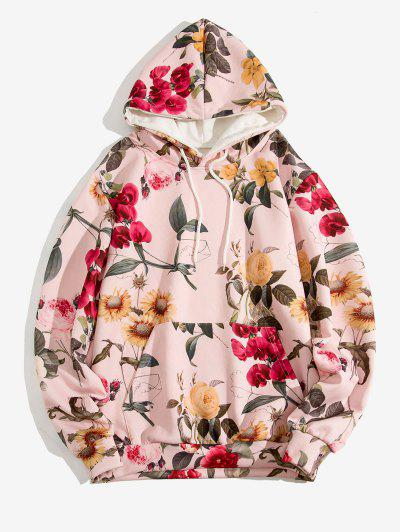 Flower Pattern Front Pocket Casual Hoodie - Light Pink Xl