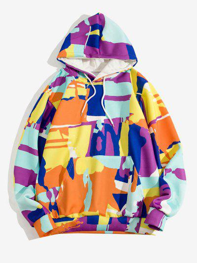 Colorful Geometric Print Pullover Hoodie - Goldenrod Xl